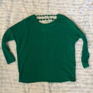 Women's lightweight sweater with open back detail
